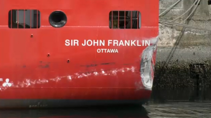 The CCGS Sir John Franklin collided with the Ogden Point breakwater near Victoria in March, which damaged its rudder and main propeller shaft. (CTV Vancouver Island)