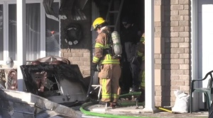 Fire officials in North Bay believe that careless smoking was the cause of a fire that started Monday morning. (Eric Taschner/CTV Northern Ontario)