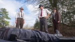 "This image released by Netflix shows, from left, Woody Harrelson, Kevin Costner and Thomas Mann in a scene from ""The Highwaymen."" (Merrick Morton/Netflix via AP)"