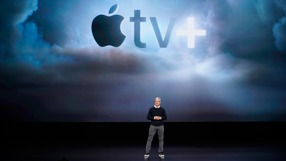 Apple CEO Tim Cook speaks at the Steve Jobs Theater during an event to announce new products Monday, March 25, 2019, in Cupertino, Calif. (AP / Tony Avelar)