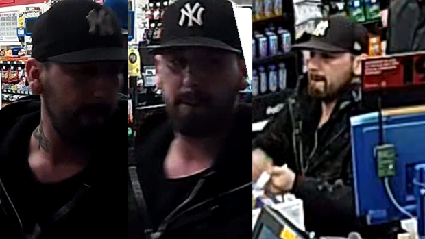 This composite image shows a suspect sought in a convenience store robbery in London, Ont. on Saturday, March 23, 2019. (Source: London Police Service)