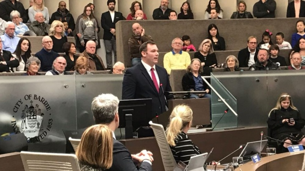 Barrie-Springwater-Oro-Medonte MP Alex Nuttall announces he will not seek re-election in 2019 federal election at Barrie city hall on Monday, March 25, 2019 (CTV News/Aileen Doyle)