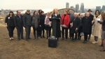 School board trustees gathered on Scotsman's Hill on Monday to call on increased funding for classrooms in Alberta ahead of an expected influx of students