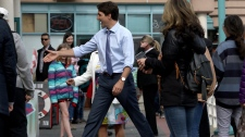 Prime Minister Justin Trudeau greets supporters