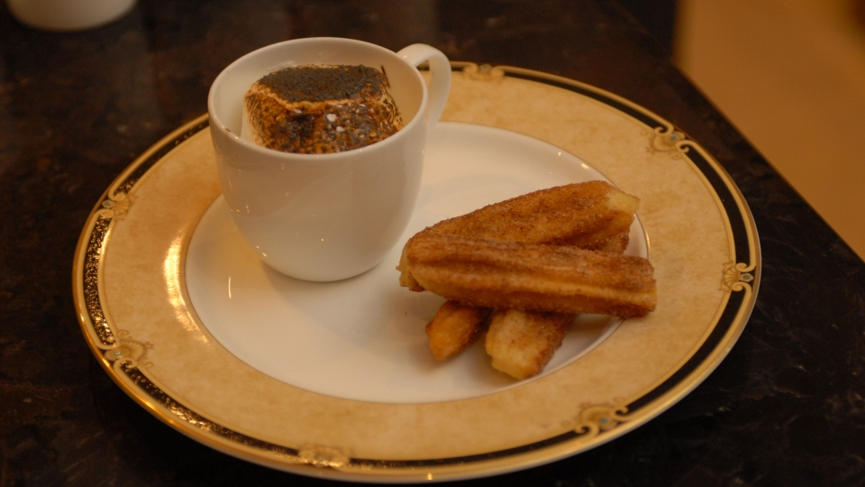 "The ""Pipe Dreams"" dessert, a churro pastry with a toasted marshmallow s'mores dip. (Rob Goldstein)"