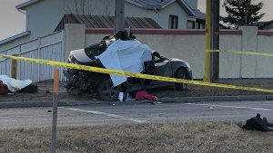 A man was killed and a woman seriously injured in an early-morning crash on 14th Street N.W.