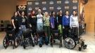The Fight Like Mason donates five customized wheelchairs to Windsor Regional Hospital in Windsor, Ont., on Tuesday, March 26, 2019. (Melanie Borrelli / CTV Windsor)