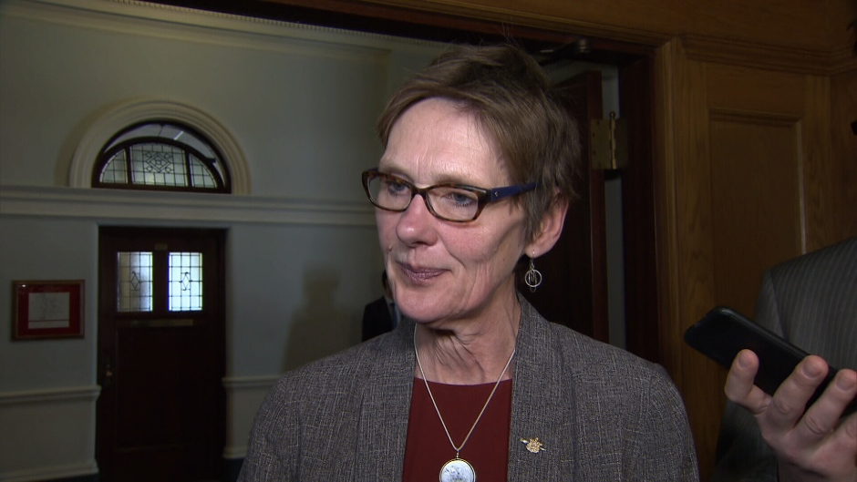 B.C. Minister of Transportation and Infrastructure Claire Trevena speaks to reporters in this file photo