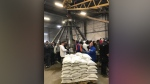 Volunteers at Fargo's sandbag central have begun the task of making 1 million sandbags ahead of flood season. Photos: Josh Crabb/CTV News.