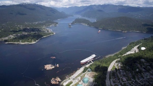 An aerial view of the Trans Mountain marine terminal, in Burnaby, B.C., is shown on May 29, 2018.  (Jonathan Hayward / THE CANADIAN PRESS)