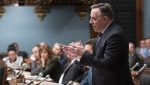 Quebec Premier Francois Legault responds to the Opposition during question period Tuesday, February 5, 2019 at the legislature in Quebec City. THE CANADIAN PRESS/Jacques Boissinot