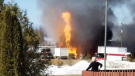 Twitter video appears to show flames shooting from the ground. (@DMBDisciple / Twitter)
