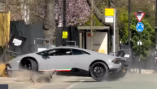Driver wrecks expensive Lambo seconds into drive