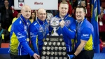 Team Alberta skip Kevin Koe (left to right), third B.J. Neufeld, second Colton Flasch and lead Ben Hebert hold the Brier tankard after beating Team Wild Card at the Brier in Brandon, Man. Sunday, March 10, 2019. THE CANADIAN PRESS/Jonathan Hayward