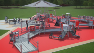 A playground in St. John, N.B. is about to get a $1-million makeover with double-wide ramps, a roller slide and even quiet zone for children with autism. (Canadian Tire Jumpstart)