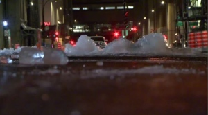 There was a major water main break next to the Bell Centre downtown Wednesday morning.
