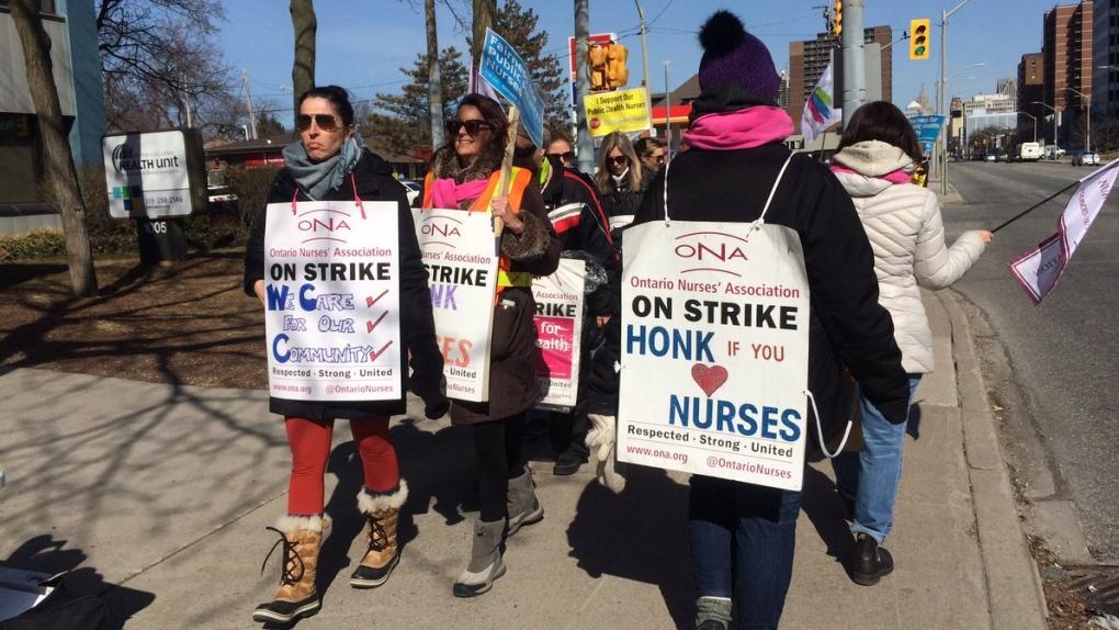 Striking nurses