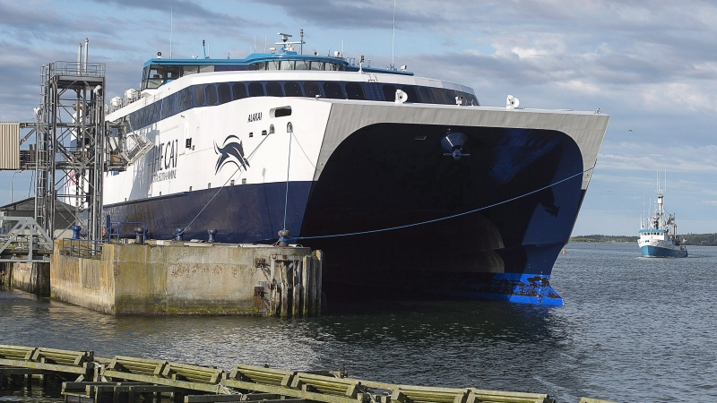 The CAT, a high-speed passenger ferry, prepares to depart Yarmouth, N.S. heading to Portland, Maine on its first scheduled trip on Wednesday, June 15, 2016. (THE CANADIAN PRESS/Andrew Vaughan)