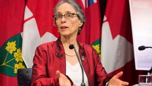 Dianne Saxe, Environmental Commissioner of Ontario releases her annual environmental protection report during a news conference at the Ontario Legislature in Toronto on Tuesday, November 13, 2018. THE CANADIAN PRESS/Frank Gunn