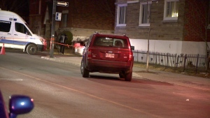 An eight-year-old boy was fatally struck by a car while crossing Laurendeau St. in Ville Emard on the night of Wed., March 27, 2019. (Photo: Cosmo Santamaria/CTV Montreal)