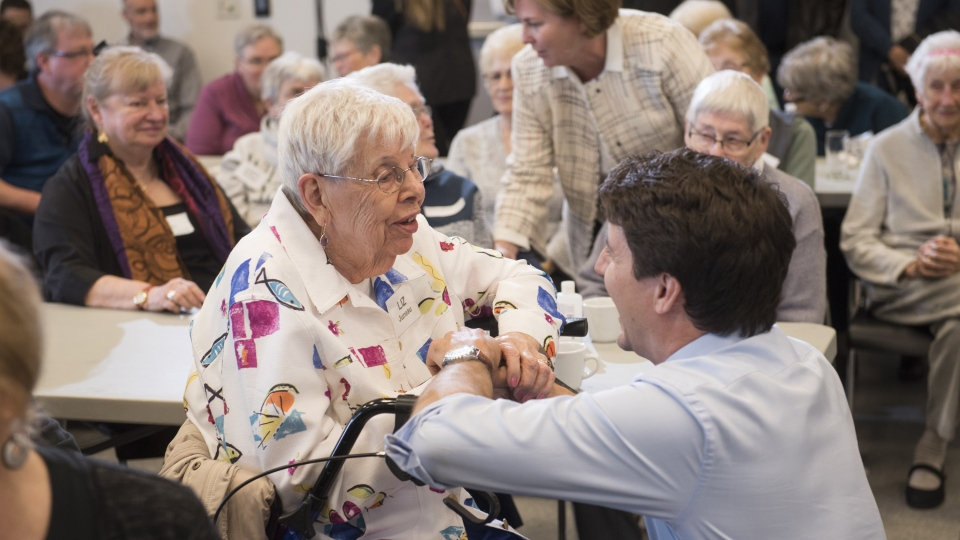 Prime Minister Justin Trudeau talks to local seniors in St. Stephen, N.B., Thursday, March 28, 2019. (THE CANADIAN PRESS/Stephen MacGillivray)