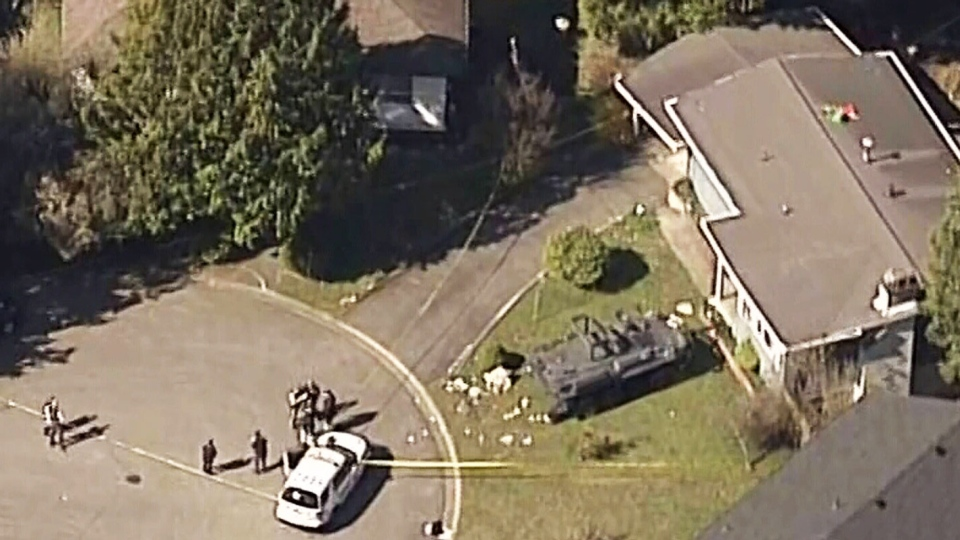 Police respond to a hostage situation in Surrey's Central City area on March 29, 2019.