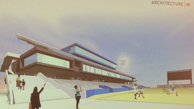 A rendering of the proposed multi-use sports and entertainment stadium that would be built in Shannon Park.