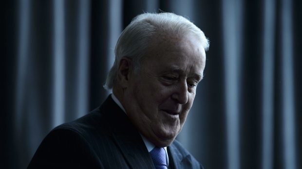 Former prime minister Brian Mulroney arrives to speak at a conference put on by the University of Ottawa Professional Development Institute and the Canada School of Public Service in Ottawa on March 5, 2019. THE CANADIAN PRESS/Sean Kilpatrick