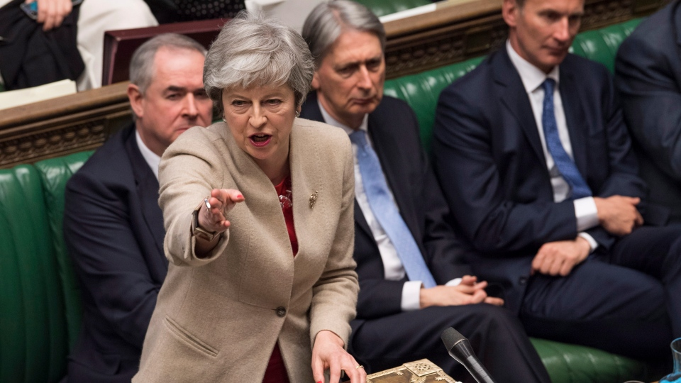 Britain's Prime Minister Theresa May speaks to lawmakers in the House of Commons, London, Friday March 29, 2019. (Mark Duffy/House of Commons via AP)