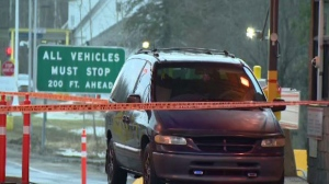 A vehicle at the Hemmingford, Que., border crossing.
