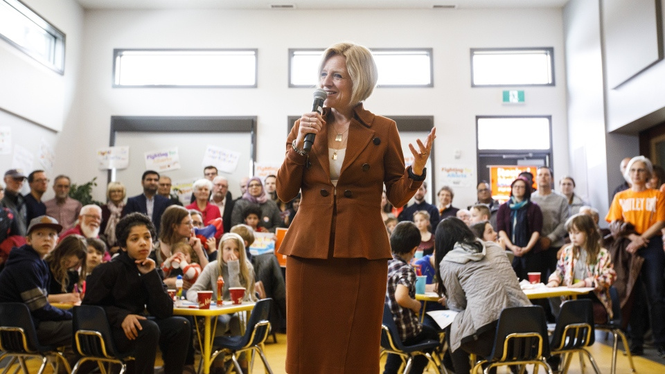 Alberta NDP Leader Rachel Notley makes a stop at a community centre while campaigning for the upcoming election, in Edmonton Alta. on Sunday, March 31, 2019. THE CANADIAN PRESS/Jason Franson
