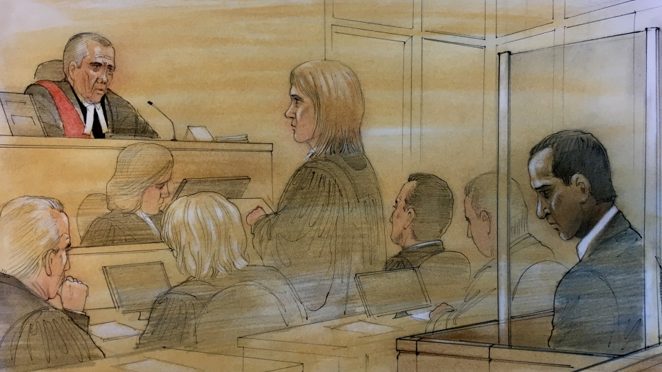 Mohammed Shamji appears in court on April 1, 2019. (Sketch by John Mantha)