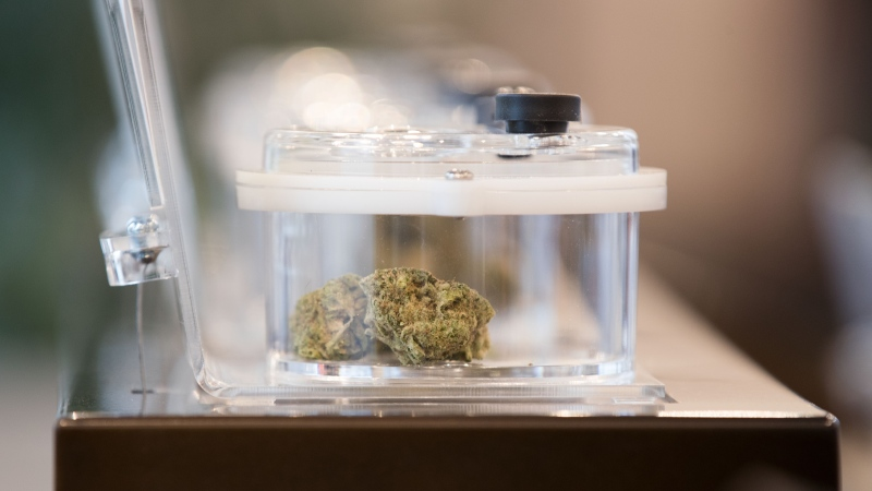 Cannabis on display is seen during a media tour of SpritLeaf's store in Kingston, Ont., Sunday, March 31, 2019. (THE CANADIAN PRESS/Lars Hagberg)
