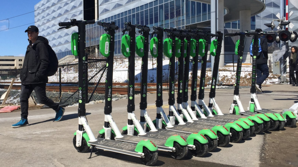 Lime scooters lined up in Waterloo. (Apr. 1, 2019)