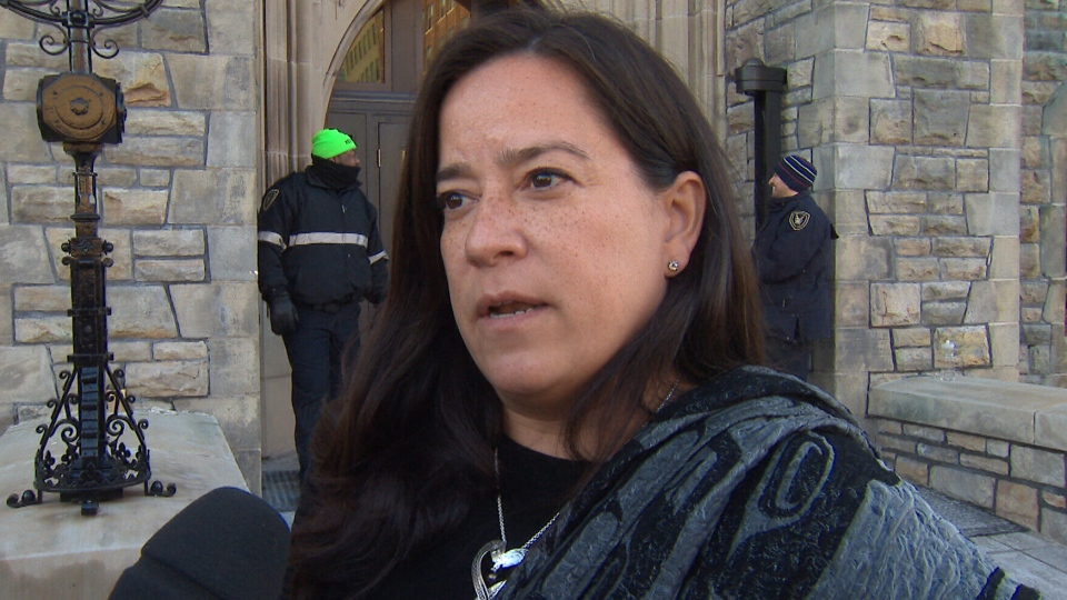 Liberal MP Jody Wilson-Raybould speaks to reporters on Parliament Hill in Ottawa, Monday, April 1, 2019.