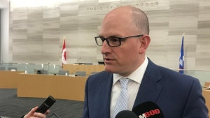 Windsor Mayor Drew Dilkens on budget night 2019 at Windsor City Hall on April 1, 2019. (Rich Garton / CTV Windsor)