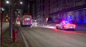 According to the SPVM, the 33-year-old man was spotted lying alongside Boulevard Rene-Levesque, between Saint-Andre and Saint-Christophe Sts around 9 p.m. Upon closer examination, the man was found to have a serious head injury. (Cosmo Santamaria/CTV Montreal)