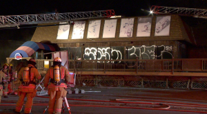 While the fire was easily controlled, traces of accelerant were found on the scene, prompting an inquiry by the SPVM's arson squad. (Cosmo Santamaria/CTV Montreal)