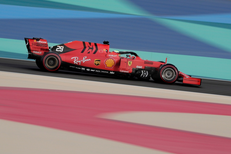 Mick Schumacher steers a Ferrari car during his first F1 test for Ferrari at the Bahrain International Circuit in Sakhir, Bahrain, Tuesday, April 2, 2019. (AP Photo/Hassan Ammar)