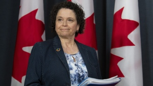 Commissioner of the Environment and Sustainable Development Julie Gelfand arrives for a news conference in Ottawa, Tuesday, April 2, 2019. THE CANADIAN PRESS/Adrian Wyld