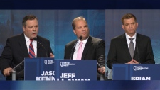 "From left to right: Jason Kenney, Jeff Callaway, Brian Jean. Callaway has been accused of working with Kenney in a ""kamikaze"" campaign in the United Conservative Party's 2017 leadership race to undermine Jean."