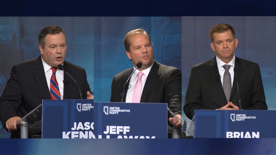 From left to right: Jason Kenney, Jeff Callaway, Brian Jean. Callaway has been accused of working with Kenney in a