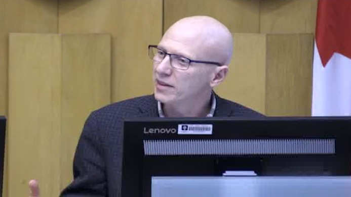 Councillor Michael van Holst speaks at city hall in London, Ont. on Tuesday, April 2, 2019. (Daryl Newcombe / CTV London)