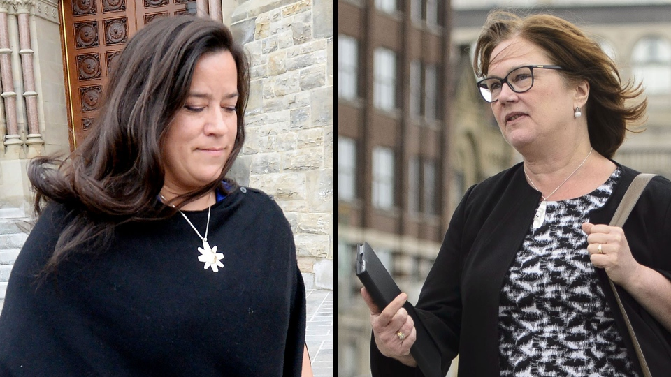 Jody Wilson-Raybould, left, and Jane Philpott on Parliament Hill in Ottawa on Tuesday, April 2, 2019. (THE CANADIAN PRESS / Adrian Wyld / Sean Kilpatrick)
