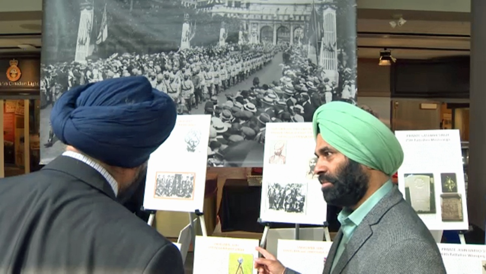 Visitors to the Sikh military display at The Military Museums in Calgary on April 2, 2019