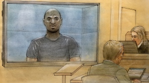 Hashim Abdullahi appears in a Newmarket court on April 3, 2019. (Sketch by John Mantha)