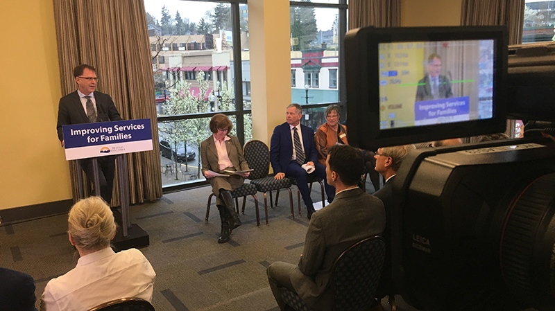B.C. health minister Adrian Dix announces a new urgent primary care facility for Nanaimo, the province's seventh such facility. April 3, 2019. (CTV Vancouver Island)