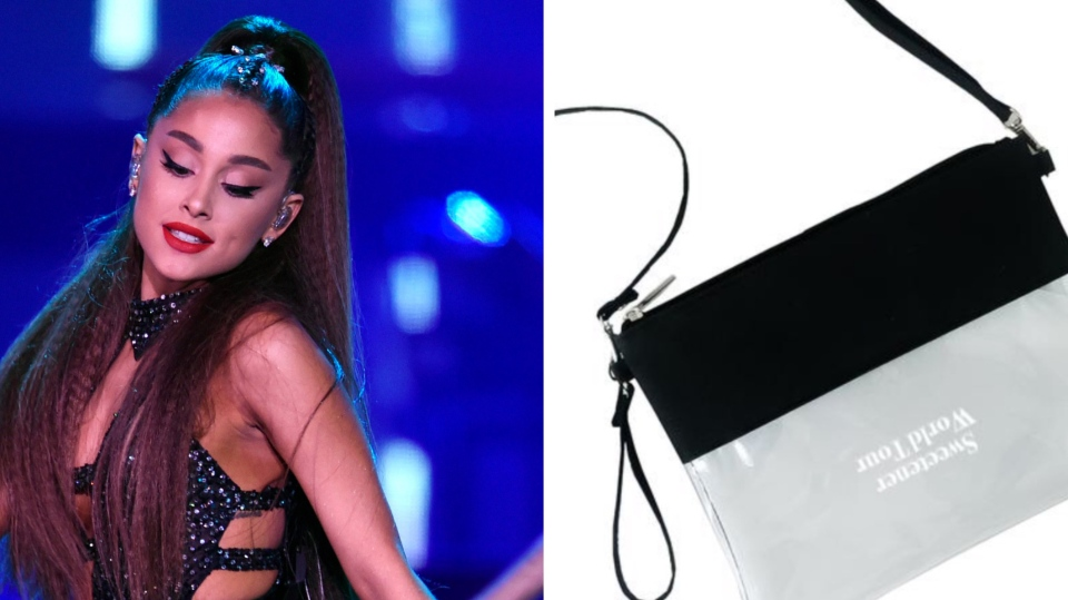 "Ariana Grande wants her fans to bring ""100 per cent clear"" bags to her show in Toronto as part of heightened security measures specific to the tour. (Photo on left by Chris Pizzello/Invision/AP, File)"