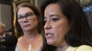 Independent Members of Parliament Jane Philpott and Jody Wilson-Raybould speak with the media before Question Period in the Foyer of the House of Commons in Ottawa, Wednesday April 3, 2019. THE CANADIAN PRESS/Adrian Wyld