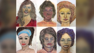 This composite image shows six of the 26 drawings by convicted killer Samuel Little released by the FBI in efforts to solve cold cases. (FBI)